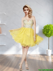 Pretty 2015 Sweetheart Beading Mini Length Bridesmaid Dress in Yellow