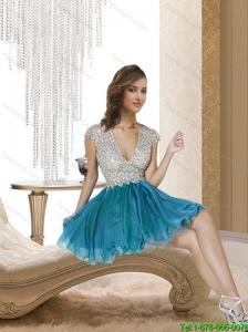 Remarkable 2015 Backless V Neck Empire Teal Prom Dress with Sequins