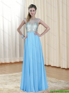 2015 Bateau Floor Length Cheap Bridesmaid Dress with Open Back and Beading