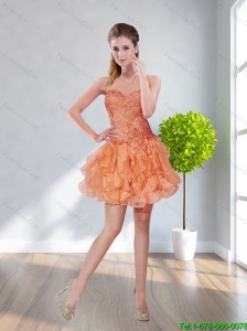 2015 Beautiful Sweetheart Orange Red Cheap Bridesmaid Dress with Appliques and Ruffles