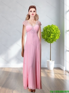 2015 New Style V Neck Beading and Appliques Rose Pink Prom Dress
