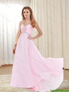 2015 Plus Size Sweep Train Baby Pink Prom Dress with Criss Cross