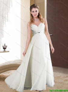 Fashionable Rhinestones Sweetheart White Long Cheap Bridesmaid Dress for 2015 Spring