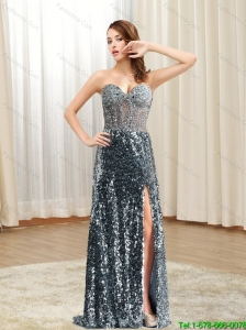 New Style 2015 Sweetheart Sequins Column Prom Dress in Silver