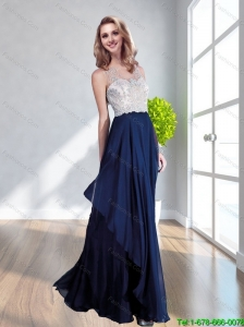 Perfect Bateau Floor Length Navy Blue Cheap Bridesmaid Dress with Lace and Ruching