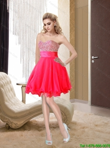 2015 Discount A Line Beading Sweetheart Hot Pink Bridesmaid Dress