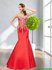 2015 Exclusive Mermaid Embroidery Sweetheart Bridesmaid Dresses in Red