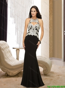 2015 Popular Empire Halter Top Backless Black Bridesmaid Dresses with Appliques