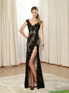 Beautiful 2015 V Neck Lace and High Slit Black Bridesmaid Dresses