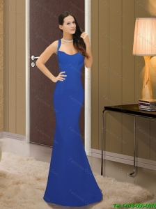 Exclusive Column Chiffon Straps 2015 Bridesmaid Dresses in Royal Blue