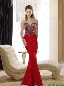 Modest 2015 Mermaid Chiffon Sweetheart Beading Bridesmaid Dresses in Red