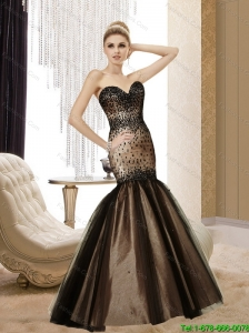 Perfect 2015 Mermaid Sweetheart Beading Tulle Chocolate Bridesmaid Dresses