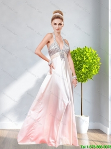 2015 Classical Halter Top Empire Beading Bridesmaid Dress in Rose Pink