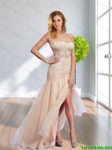 2015 Cute Sweetheart Long Bridesmaid Dress with Lace and High Slit