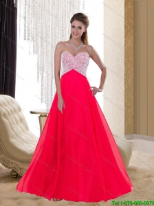 2015 Discount Empire Sweetheart Chiffon Beading Red Bridesmaid Gowns