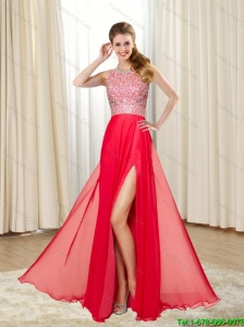 2015 Gorgeous Empire Bateau Beading and High Slit Bridesmaid Dresses in Red