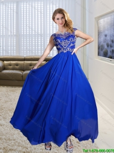 2015 Plus Size Scoop Appliques Empire Prom Gown Dress in Royal Blue