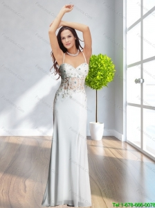2015 Plus Size Spaghetti Straps White Long Prom Dress with Appliques