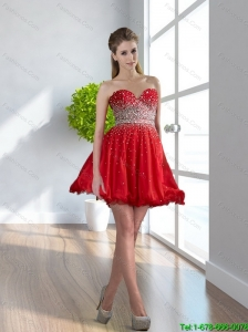 2015 Plus Size Sweetheart Red Short Prom Dress with Beading