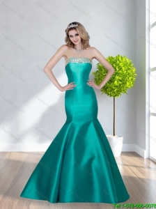 2015 Elegant Mermaid Satin Beading Strapless Prom Dress in Turquoise