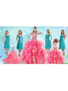 Beading Multi Color Ball Gown Quinceanera Dress and Ruching Knee Length Dama Dresses and Ruffles  Spaghetti Straps Little Girl Dress