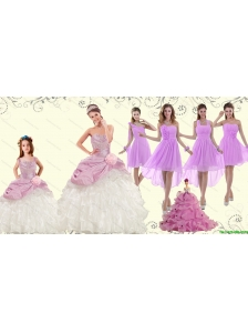Strapless Beading Multi Color Quinceanera Dress and Ruching Short Prom Dresses and Beading Multi Color Little Girl Dress