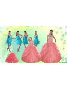 Beading Watermelon Quinceanera Gown and Baby Blue Short Dama Dresses and Halter Top Watermelon Little Girl Dress