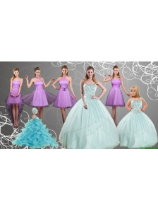 Cheap Sweetheart Beading Quinceanera Dress and Lilac Short Prom Dresses and Apple Green Spaghetti Straps Beading Pageant Dresses for Little Girl