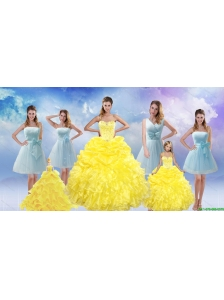 Yellow Sweetheart Rufflers Beading Quinceanera Dress and Bownot Short Prom Dresses and Yellow Spaghetti Straps Beading Pageant Dresses for Little Girl