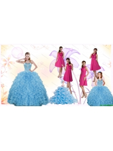 2015 Gorgeous Ruffles and Beading Quinceanera Dress and Hot Pink Short Dama Dresses and Cute Halter Top Little Girl Dress