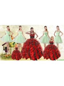 Beading Multi Color Sweetheart Quinceanera Gown and Apple Green Short Prom Dresses and  Straps Ruffles Little Girl Dress