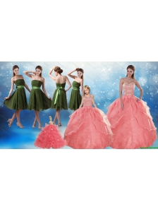 Beading Sweetheart 2015 Watermelon Quinceanera Dress and Strapless Knee Length Prom Dresses and Watermelon Halter Top Little Girl Dress