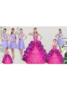 Multi Color Embroidery and Bubbles Quinceanera Dress and Ruching Short Dama Dresses and Spaghetti Straps Bubbles Little Girl Dress