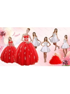Red Ball Gown Appliques Quinceanera Dress and Short Beading White Dresses and Red Halter Top Little Girl Dress
