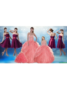 Watermelon Sweetheart Beading Quinceanera Gown and Elegnat Strapless Prom Dresses and 2015 Halter Top Beading Little Girl Dress