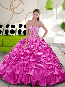 2015 Affordable Fuchsia Dress for Quince with Beading and Pick Ups