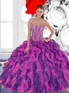 2015 Luxurious Beading and Ruffled Layers Quinceanera Dresses in Multi Color