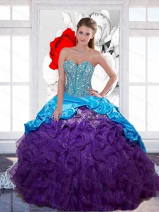 Beautiful Sweetheart Beading and  Ruffled Layers Quinceanera Gown for 2015 Spring