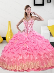 Exclusive Sweetheart 2015 Quinceanera Gown with Pick Ups and Beading