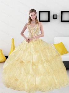 2015 Classical Sweetheart Sweet 15 Dresses with Beading and Ruffled Layers