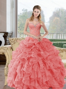 2015  Custom Made Beading and Ruffles Quinceanera Dresses in Watermelon