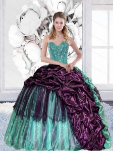2015 Discount Sweetheart Quinceanera Gown with Pick Ups and Ruffles