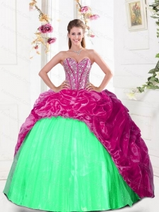 2015 Fashionable Sweetheart Sweet 16 Dresses with Beading and Pick Ups