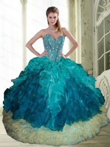2015 Popular Beading and Ruffles Sweetheart Sweet 16 Dresses in Multi Color
