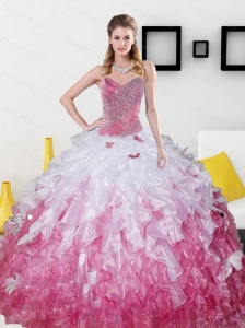 2015 Top Seller Sweetheart Sweet 15 Dresses with Beading and Ruffles