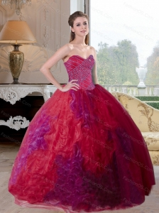 Custom Made Multi Color 2015 Quinceanera Gown with Beading and Ruffles