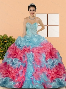 Custom Made Multi Color 2015 Sweet 15 Dresses with Beading and Ruffles
