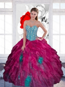 Custom Made  Sweetheart Beading Ball Gown 2015 Quinceanera Dress with Ruffles