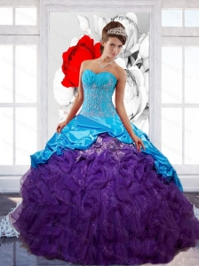 Free and Easy  Sweetheart Ruffles Sweet 16 Dresses with Appliques and Pick Ups