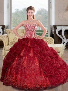 Inexpensive Sweetheart Beading and Pick Ups 2015 Sweet 16 Dresses in Wine Red